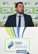 13 February 2018; John McGuinness, SSE Airtricity League Marketing Executive, during the SSE Airtricity League Launch 2018 at the Aviva Stadium in Dublin. Photo by Seb Daly/Sportsfile
