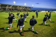 13 February 2018; The Republic of Ireland team warm up with assistant manager Ian Hill prior to the Under 17 International Friendly match between the Republic of Ireland and Turkey at Eamonn Deacy Park in Galway. Photo by Diarmuid Greene/Sportsfile