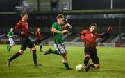 13 February 2018; Callum Thompson of Republic of Ireland in action against Mustafa Kaya, left, and Erdogan Kaya of Turkey during the Under 17 International Friendly match between the Republic of Ireland and Turkey at Eamonn Deacy Park in Galway. Photo by Diarmuid Greene/Sportsfile