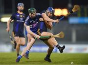 13 February 2018; Eoghan O'Donnell of DCU Dóchas Éireann in action against John Niall O'Brien of Dublin Institute of Technology during the Electric Ireland HE GAA Fitzgibbon Cup Semi-Final match between Dublin Institute of Technology and DCU Dóchas Éireann at Parnell Park in Dublin. Photo by Eóin Noonan/Sportsfile