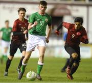 13 February 2018; Troy Parrott of Republic of Ireland in action against Serkan Bakan of Turkey during the Under 17 International Friendly match between the Republic of Ireland and Turkey at Eamonn Deacy Park in Galway. Photo by Diarmuid Greene/Sportsfile