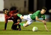 13 February 2018; Jason Knight of Republic of Ireland in action against Serkan Bakan of Turkey during the Under 17 International Friendly match between the Republic of Ireland and Turkey at Eamonn Deacy Park in Galway. Photo by Diarmuid Greene/Sportsfile