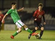 13 February 2018; Ray O'Sullivan of Republic of Ireland in action against Mustafa Kaya of Turkey during the Under 17 International Friendly match between the Republic of Ireland and Turkey at Eamonn Deacy Park in Galway. Photo by Diarmuid Greene/Sportsfile