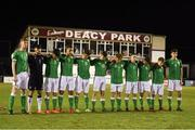 13 February 2018; The Republic of Ireland team observe a minutes silence in memory of the late Liam Miller prior to the Under 17 International Friendly match between the Republic of Ireland and Turkey at Eamonn Deacy Park in Galway. Photo by Diarmuid Greene/Sportsfile
