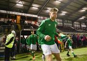 13 February 2018; Republic of Ireland captain Nathan Collins leads his team out for the Under 17 International Friendly match between the Republic of Ireland and Turkey at Eamonn Deacy Park in Galway. Photo by Diarmuid Greene/Sportsfile