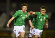 13 February 2018; Troy Parrott, left, of Republic of Ireland celebrates with team-mate Barry Coffey after scoring his side's equalising goal during the Under 17 International Friendly match between the Republic of Ireland and Turkey at Eamonn Deacy Park in Galway. Photo by Diarmuid Greene/Sportsfile