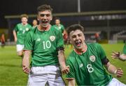 13 February 2018; Troy Parrott of Republic of Ireland, left, celebrates with team-mate Barry Coffey after scoring his side's equalising goal during the Under 17 International Friendly match between the Republic of Ireland and Turkey at Eamonn Deacy Park in Galway. Photo by Diarmuid Greene/Sportsfile