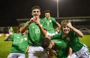 13 February 2018; Troy Parrott of Republic of Ireland, no.10, celebrates with team-mates Callum Thompson, Barry Coffey, and Luca Connell after scoring his side's equalising goal during the Under 17 International Friendly match between the Republic of Ireland and Turkey at Eamonn Deacy Park in Galway. Photo by Diarmuid Greene/Sportsfile
