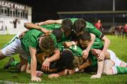 13 February 2018; Troy Parrott of Republic of Ireland is congratulated by team-mates after scoring his side's equalising goal during the Under 17 International Friendly match between the Republic of Ireland and Turkey at Eamonn Deacy Park in Galway. Photo by Diarmuid Greene/Sportsfile
