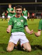 13 February 2018; Troy Parrott of Republic of Ireland celebrates after scoring his side's equalising goal during the Under 17 International Friendly match between the Republic of Ireland and Turkey at Eamonn Deacy Park in Galway. Photo by Diarmuid Greene/Sportsfile
