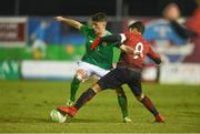 13 February 2018; Barry Coffey of Republic of Ireland in action against Ali Yavuz Kol of Turkey during the Under 17 International Friendly match between the Republic of Ireland and Turkey at Eamonn Deacy Park in Galway. Photo by Diarmuid Greene/Sportsfile