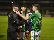 13 February 2018; Goalkeeper Kian Clarke, Ray O'Sullivan and goalscorer Troy Parrott of Republic of Ireland after the Under 17 International Friendly match between the Republic of Ireland and Turkey at Eamonn Deacy Park in Galway. Photo by Diarmuid Greene/Sportsfile