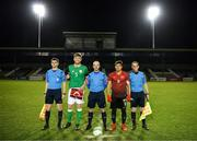 13 February 2018; Republic of Ireland captain Nathan Collins and Turkey captain Ali Yavuz Kol with referee Marc Lynch, assistant referee Shane O'Brien and assistant referee Trevor Conlon prior to the Under 17 International Friendly match between the Republic of Ireland and Turkey at Eamonn Deacy Park in Galway. Photo by Diarmuid Greene/Sportsfile