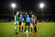 13 February 2018; Referee Marc Lynch performs the coin-toss in the company of assistant referees Shane O'Brien and Trevor Conlon and Republic of Ireland captain Nathan Collins and Turkey captain Ali Yavuz Kol prior to the Under 17 International Friendly match between the Republic of Ireland and Turkey at Eamonn Deacy Park in Galway. Photo by Diarmuid Greene/Sportsfile