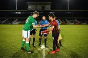 13 February 2018; Republic of Ireland captain Nathan Collins and Turkey captain Ali Yavuz Kol exchange pendants prior to the Under 17 International Friendly match between the Republic of Ireland and Turkey at Eamonn Deacy Park in Galway. Photo by Diarmuid Greene/Sportsfile