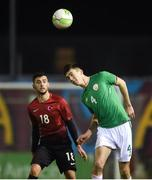 13 February 2018; Oisin McEntee of Republic of Ireland in action against Muhammet Arslantas of Turkey during the Under 17 International Friendly match between the Republic of Ireland and Turkey at Eamonn Deacy Park in Galway. Photo by Diarmuid Greene/Sportsfile
