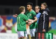 13 February 2018; Tyriek Wright of Republic of Ireland comes on to replace team-mate Marc Walsh during the Under 17 International Friendly match between the Republic of Ireland and Turkey at Eamonn Deacy Park in Galway. Photo by Diarmuid Greene/Sportsfile
