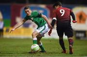 13 February 2018; Max Murphy of Republic of Ireland in action against Ali Yavuz Kol of Turkey during the Under 17 International Friendly match between the Republic of Ireland and Turkey at Eamonn Deacy Park in Galway. Photo by Diarmuid Greene/Sportsfile
