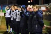 13 February 2018; Republic of Ireland manager Colin O'Brien and team during the national anthems prior the Under 17 International Friendly match between the Republic of Ireland and Turkey at Eamonn Deacy Park in Galway. Photo by Diarmuid Greene/Sportsfile