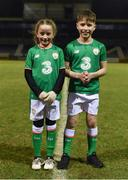 13 February 2018; Mascots Caitlin Trill, aged 9, and Adam Ramsay, aged 11, both from Claregalway, prior to the Under 17 International Friendly match between the Republic of Ireland and Turkey at Eamonn Deacy Park in Galway. Photo by Diarmuid Greene/Sportsfile