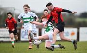 14 February 2018; Luke Mitchell of North East in action against Barry Gray of South East during the Shane Horgan Cup 4th Round match between South East and North East at Ashbourne RFC in Ashbourne, Co Meath. Photo by David Fitzgerald/Sportsfile