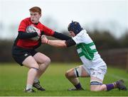 14 February 2018; Liam McEneaney of North East is tackled by Bryan Cullenton of South East during the Shane Horgan Cup 4th Round match between South East and North East at Ashbourne RFC in Ashbourne, Co Meath. Photo by David Fitzgerald/Sportsfile
