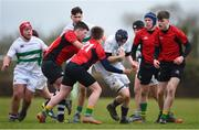 14 February 2018; Bryan Cullenton of South East is tackled by Corey Rooney of North East during the Shane Horgan Cup 4th Round match between South East and North East at Ashbourne RFC in Ashbourne, Co Meath. Photo by David Fitzgerald/Sportsfile