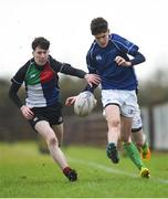 14 February 2018; Tom Martin of North Midlands in action against Eoin Hickey of Midlands during the Shane Horgan Cup 4th Round match between North Midlands and Midlands at Ashbourne RFC in Ashbourne, Co Meath. Photo by David Fitzgerald/Sportsfile