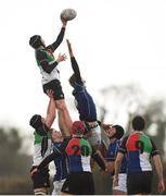 14 February 2018; Sean Briody of Midlands wins possession in a lineout during the Shane Horgan Cup 4th Round match between North Midlands and Midlands at Ashbourne RFC in Ashbourne, Co Meath. Photo by David Fitzgerald/Sportsfile