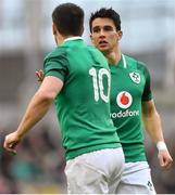 10 February 2018; Joey Carbery of Ireland, right, comes on to replace team-mate Jonathan Sexton during the Six Nations Rugby Championship match between Ireland and Italy at the Aviva Stadium in Dublin. Photo by Brendan Moran/Sportsfile