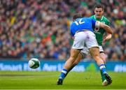 10 February 2018; Jonathan Sexton of Ireland is tackled by Tommaso Castello of Italy during the Six Nations Rugby Championship match between Ireland and Italy at the Aviva Stadium in Dublin. Photo by Brendan Moran/Sportsfile
