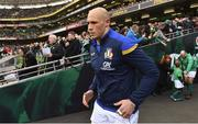 10 February 2018; Italy captain Sergio Parisse runs out prior to the Six Nations Rugby Championship match between Ireland and Italy at the Aviva Stadium in Dublin. Photo by Brendan Moran/Sportsfile