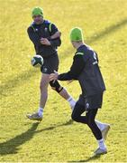 15 February 2018; Fergus McFadden, left, passes to Jonathan Sexton during Ireland Rugby squad training at Buccaneers RFC, Dubarry Park, Athlone, Westmeath. Photo by Harry Murphy/Sportsfile