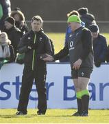 15 February 2018; Tadhg Furlong with team physio Colm Fuller during Ireland Rugby squad training at Buccaneers RFC, Dubarry Park, Athlone, Westmeath. Photo by Brendan Moran/Sportsfile