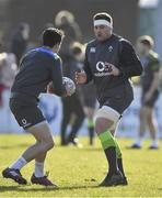15 February 2018; CJ Stander, right and Joey Carbery during Ireland Rugby squad training at Buccaneers RFC, Dubarry Park, Athlone, Westmeath. Photo by Brendan Moran/Sportsfile