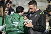 15 February 2018; Jack Conan signs autographs for fans after an Ireland Rugby squad training at Buccaneers RFC, Dubarry Park, Athlone, Westmeath. Photo by Brendan Moran/Sportsfile