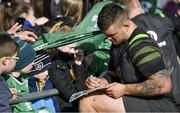 15 February 2018; Andrew Porter signs autographs for fans after an Ireland Rugby squad training at Buccaneers RFC, Dubarry Park, Athlone, Westmeath. Photo by Brendan Moran/Sportsfile