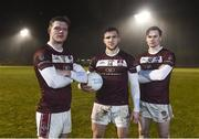 16th February 2018: Electric Ireland Sigerson Cup finalists, Owen Gallagher, left, Damien Comer, centre, and Kevin McDonald from N.U.I. Galway will take on University College Dublin on Saturday, 17th February at Santry Avenue. The unique quality of the Electric Ireland Higher Education Championships will see these players putting their intercounty and club rivalries aside to strive to achieve Electric Ireland Sigerson Cup glory. Electric Ireland has been shining a light on these First Class Rivals as proud sponsor of the college level competitions for the next four years. Photo by Sam Barnes/Sportsfile
