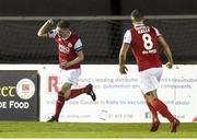 16 February 2018; Ian Bermingham of St Patrick's Athletic celebrates after scoring his side's first goal during the SSE Airtricity League Premier Division match between St Patrick's Athletic and Cork City at Richmond Park, in Dublin. Photo by Tom Beary/Sportsfile