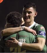 16 February 2018; Barry McNamee celebrates scoring his side's first goal with Graham Cummins of Cork City during the SSE Airtricity League Premier Division match between St Patrick's Athletic and Cork City at Richmond Park, in Dublin. Photo by Tom Beary/Sportsfile