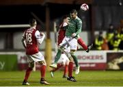 16 February 2018; Steven Beattie of Cork City in action against Owen Garvan of St Patrick's Athletic during the SSE Airtricity League Premier Division match between St Patrick's Athletic and Cork City at Richmond Park, in Dublin. Photo by Tom Beary/Sportsfile