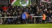 16 February 2018; Cork City supporters celebrate their side's third goal during the SSE Airtricity League Premier Division match between St Patrick's Athletic and Cork City at Richmond Park, in Dublin. Photo by Tom Beary/Sportsfile