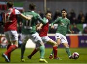 16 February 2018; Shane Griffin of Cork City in action against Conan Byrne of St Patrick's Athletic during the SSE Airtricity League Premier Division match between St Patrick's Athletic and Cork City at Richmond Park, in Dublin. Photo by Tom Beary/Sportsfile