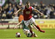 16 February 2018; James Doona of St Patrick's Athletic in action against Conor McCormack of Cork City during the SSE Airtricity League Premier Division match between St Patrick's Athletic and Cork City at Richmond Park, in Dublin. Photo by Tom Beary/Sportsfile