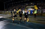 16 February 2018; Referee Robert Hennessy leads the teams out with his assistant referees Dermot Broughton and Michelle O'Neill during the SSE Airtricity League Premier Division match between Waterford FC and Derry City at the RSC in Waterford. Photo by Diarmuid Greene/Sportsfile