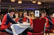 17 February 2018; Cliodhna Martin, Tara Conlon, Oran Wilson and Oisin McKeown representing Fermanagh in the table quiz share a joke between rounds during the All-Ireland Scór na nÓg Final 2018 at the Knocknarea Arena in Sligo IT, Sligo. Photo by Eóin Noonan/Sportsfile