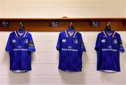 17 February 2018; The kit of Jordi Murphy, who makes his 100th appearance for Leinster today, hangs alongside team-mates Max Deegan and Josh Murphy in the dressing room prior to the Guinness PRO14 Round 15 match between Leinster and Scarlets at the RDS Arena in Dublin. Photo by Brendan Moran/Sportsfile