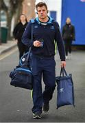 17 February 2018; Jordi Murphy of Leinster arrives prior to the Guinness PRO14 Round 15 match between Leinster and Scarlets at the RDS Arena in Dublin. Photo by Brendan Moran/Sportsfile