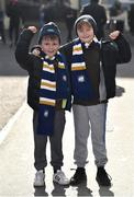17 February 2018; Leinster supporters Retief Martin, left, age 8, and Jack Duggan, age 8, from Celbridge, Kildare, ahead of the  Guinness PRO14 Round 15 match between Leinster and Scarlets at the RDS Arena in Dublin. Photo by Seb Daly/Sportsfile