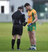 17 February 2018; Martin Farragher of Corofin speaks to referee Derek O'Mahoney prior to being sent off during the AIB GAA Football All-Ireland Senior Club Championship Semi-Final match between Corofin and Moorefield at O'Connor Park in Tullamore, Offaly. Photo by Matt Browne/Sportsfile